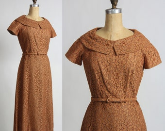 SALE - 1950s Lace Dress in Rust Brown . Mid Century
