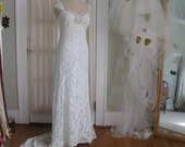 Rhinestone Butterfly Hand Beaded Vintage French Lace hand dyed Blue Green Wedding Gown