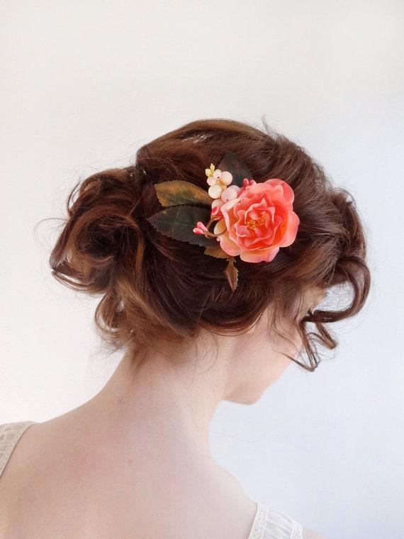pince cheveux fleur corail accessoires de cheveux de. Black Bedroom Furniture Sets. Home Design Ideas