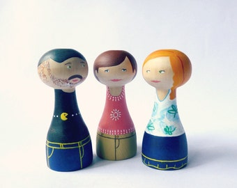Custom peg mother son and daughter portrait FREE SHIPPING Personalized Wooden art doll hand painted birthday mother's day