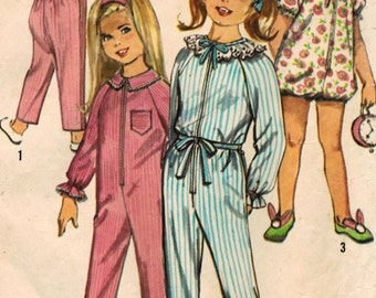 1960s Simplicity 6065 Vintage Sewing Pattern Girl's Jumpsuit Sleeper, Pajamas, Booties Slippers Size 6