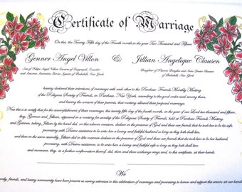 Star Gazer Lilies -Extra Deluxe Quaker Marriage Certificate