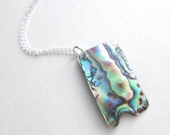 Rainbow Abalone Pendant, Paua Sea Shell Jewelry, Beachy Necklace