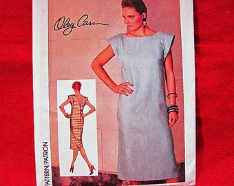 1980s Shift Dress Pattern designer Oleg Cassini Misses size 10 UNCUT Back V Neckline Dress Pattern Vintage Sewing Pattern 80s