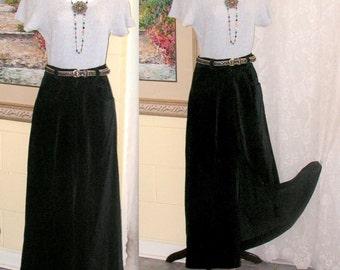Vintage Maxi Skirt - Black Velvet Skirt -  Slit Front High Waist Pockets - Littlesticks-  ILGWU
