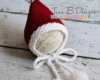 Newborn Santa Pixie bonnet with pom poms