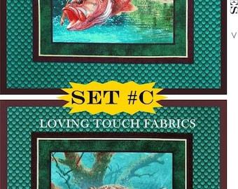 "2 Springs Creative ""Stillwater Bass"" Mark Susinno Sports Fishing Cotton Fabric Panels 17""x17"" Each Set #C"