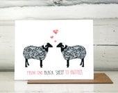 Valentine card. Black sheep illustration. Black sheep card.