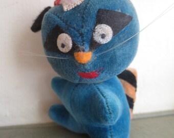 Vintage Dakin Raccoon, Dakin Dream Pet, Dream Pet Raccoon, 1960s Stuffed Animal, Blue Raccoon, Cute Kawaii Zakka, Made in Japan