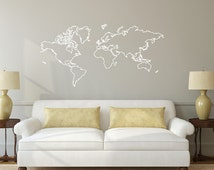 unique world map decal related items etsy. Black Bedroom Furniture Sets. Home Design Ideas