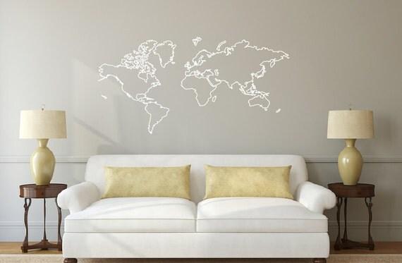 world map outline decal sticker db374. Black Bedroom Furniture Sets. Home Design Ideas