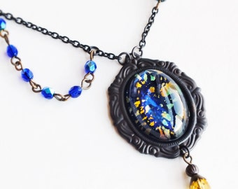 Black Opal Necklace Large Vintage Glass Rainbow Harlequin Fire Opal Pendant Iridescent Glass Necklace