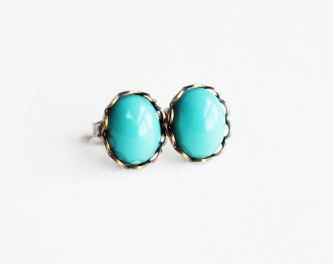 Small Turquoise Studs Vintage Glass Aqua Post Earrings Robins Egg Blue Hypoallergenic Studs Turquoise Earrings Light Blue Glass Stud Earring