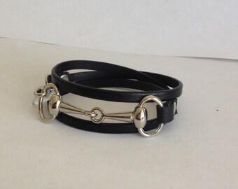 Black on black leather horse bit bracelet