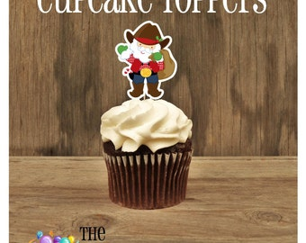 Cowboy Christmas Party - Cowboy Santa Double Sided Holiday Cupcake Toppers by The Birthday House