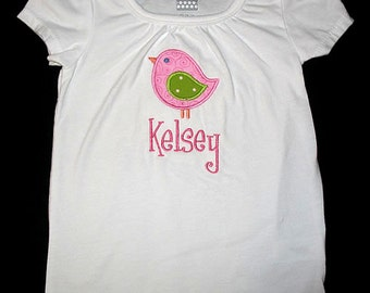 Custom Personalized Applique BIRD and NAME Bodysuit or Shirt - Pink and Lime Green