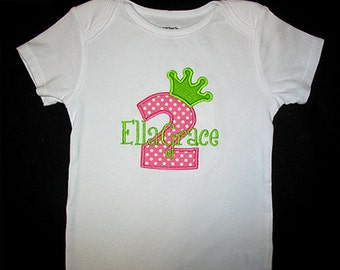 Custom Personalized Applique BIRTHDAY Crown NUMBER and NAME Bodysuit or Shirt - Pink Number and Lime Green Crown
