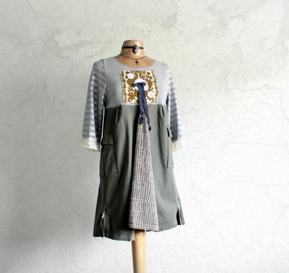 Rustic Country Boho Clothing Eco Chic Reconstructed Grey