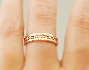 Gold Rings choose quantity thick hammered gold ring | thin twisted ring gold stacking ring