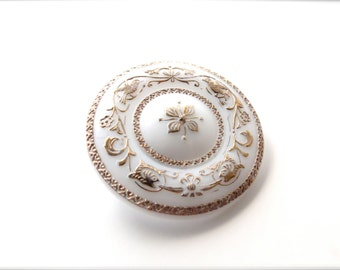 White Glass Floral Snap Hair Barrette, Delicate Hand Painted Ornate Gold Flower Detailing, Bridal Wedding Day Jewelry Accessory