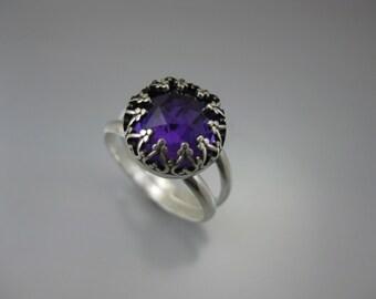deep purple amethyst ring, purple gemstone, sterling gemstone ring, amethyst ring, purple ring, eco friendly ring,