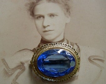 Antique Victorian Gold And Blue Brooch