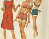 Vtg '60s Misses Two Piece Swim Suit Bra, Shorts & Cover-up Pattern Size 16 bust 36
