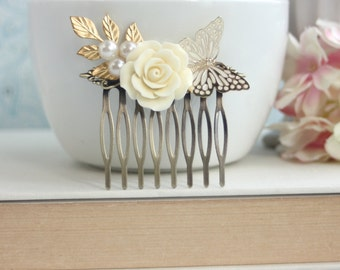 Butterfly and Ivory Rose Hair Comb, Leaf, Pearl Antiqued Brass Hair Comb. Bridesmaid Gift. Ivory Butterfly Bridal. Rustic Ivory Gold Wedding