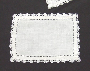 8 Irish Linen Cocktail or Tea Napkins Crochet Edge with Tags