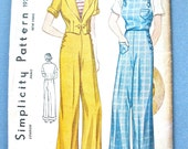Rare 1930s Slacks, Jacket and Overalls Pattern by Simplicity #1930 Nautical 30s Beach Wear Pants  Bust 34 inches