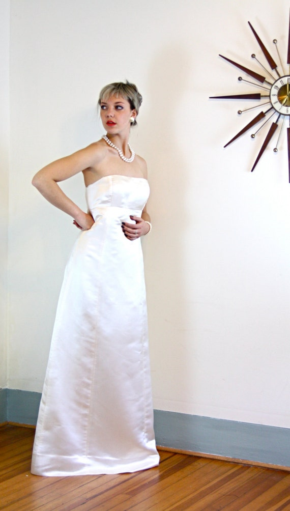 Vintage Pure SILK J.Crew Strapless Wedding Dress Ivory Satin Column Sheath Classic Plain and Simple A-Line Cut 90s Bridal Gown Size 8 Medium