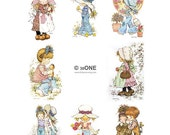 Holly Hobbie - Sarah Kay - Set 3 - A4 Digital Collage Sheet - Printable - For unlimited number of prints