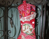 RESERVED for Julie - Crazy Quilted Boot Christmas Stocking -  Red, Appliqued, embroidered, holiday stocking,