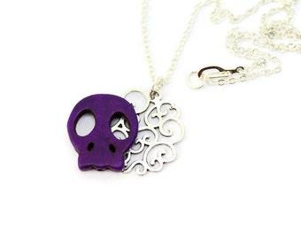 Sugar Skull Necklace, Silver Filigree Necklace