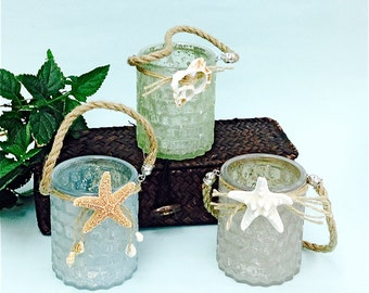 Beach Decor - Honeycomb Glass Tea Light Candleholder - Available in White and Sea Foam Green only - Choose Starfish or Shell Decoration