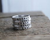 Personalized rings, 2mm fine silver, stacking rings, kids name rings, mommy jewelry, gift for her, rustic, organic silver ring, stackies