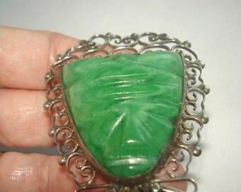 925 Mexico Green Jade Brooch