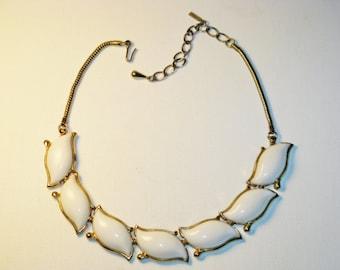 Vintage Monet White Thermoset Necklace (N-2-1)