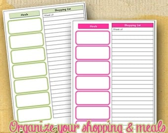 Planner Page / Meal Planner and shopping List Form / DIY/ Printable / 8.5 x 5.5