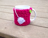 Ready to ship Tea bag cup cozy, crochet mug cozy