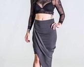 Draped asymmetrical knit skirt -modern skirt