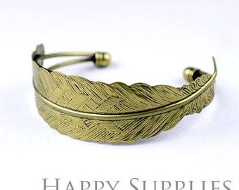 2Pcs High Quality Antiqued Bronze Filigree Feather Pad  Cuff Bracelet (PMB-B)