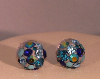 Round Silver Stud Earrings with Blue Crystal Chatons in Crystal Clay