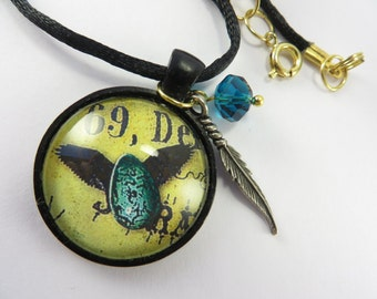 Black Winged Egg Necklace Turquoise Crystal Glass Pendant Goth Free Shipping