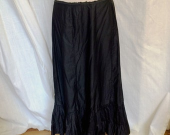 Vintage Victorian 1890 Black Cotton Mourning Skirt Generous Size Large Excellent Condition