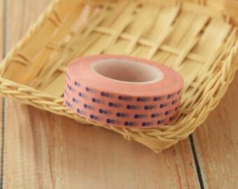 colorful Blue on PINK Polka Dots japanese washi masking tape