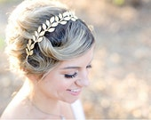 Large Leaves, Brass Gold Leaf Crown -  Bridal or Special Occasion Headband, Golden Leaf Headband, halo, crown, Boho hair piece