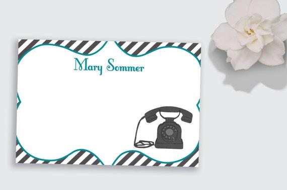 Printable Retro Telephone Flat Notecard / Stationery