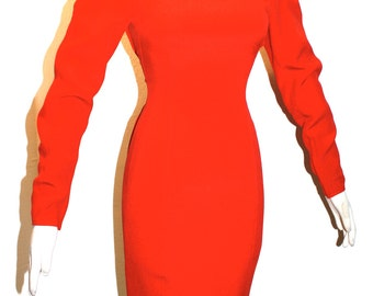 GIANNI VERSACE Vintage Red Silk Dress Long Sleeve Wiggle - AUTHENTIC -