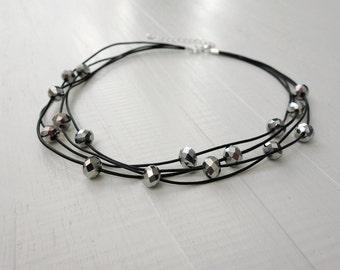 Statement leather choker silver glass beads black leather necklace minimalist rocker